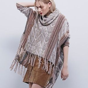 FREE PEOPLE Be The One Fringe Cowl Sweater Poncho